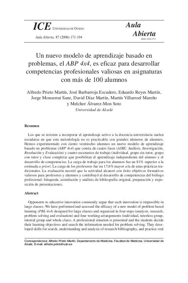 Un nuevo modelo de aprendizaje basado en problemas, el ABP 4x4, es eficaz para desarrollar competencias profesionales vali...