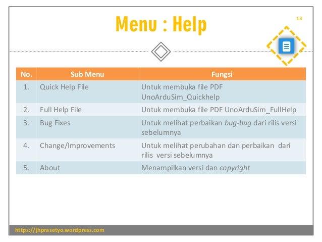 Menu : Help https://jhprasetyo.wordpress.com 13 No. Sub Menu Fungsi 1. Quick Help File Untuk membuka file PDF UnoArduSim_Q...