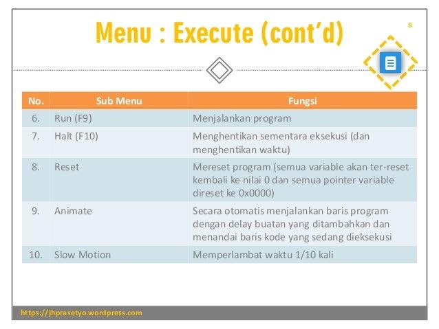 Menu : Execute (cont'd) https://jhprasetyo.wordpress.com 8 No. Sub Menu Fungsi 6. Run (F9) Menjalankan program 7. Halt (F1...