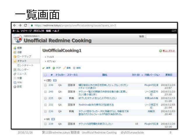 一覧画面 8第11回redmine.tokyo 勉強会 Unofficial Redmine Cooking @y503unavailable2016/11/26