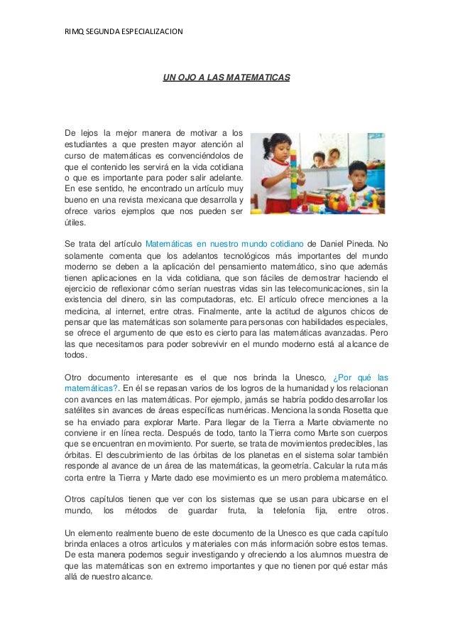 RIMQ SEGUNDA ESPECIALIZACION UN OJO A LAS MATEMATICAS De lejos la mejor manera de motivar a los estudiantes a que presten ...