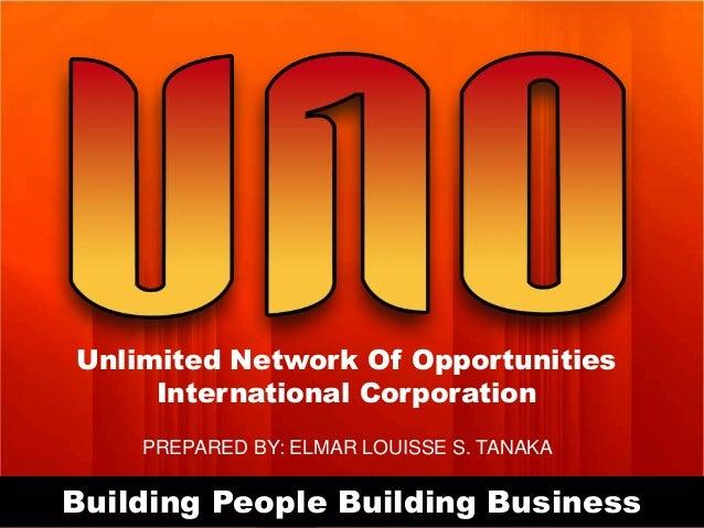 Unlimited Network Of Opportunities International Corporation PREPARED BY: ELMAR LOUISSE S. TANAKA  Building People Buildin...