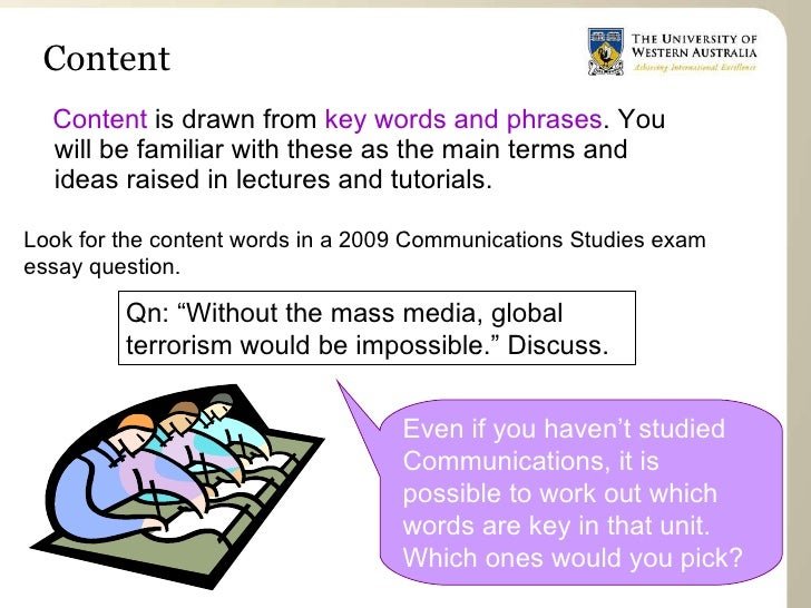 essay keywords discuss Discuss the assignment with someone else if you can  think about the meaning of key words and phrases in the essay title,  essay writing pack.