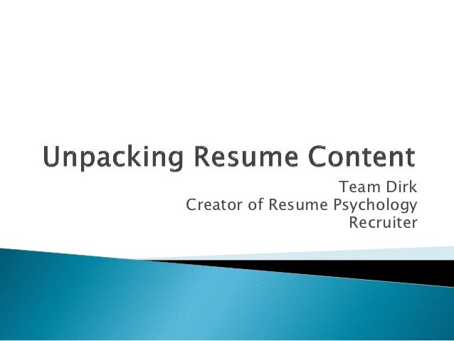 Team DirkCreator of Resume Psychology                    Recruiter