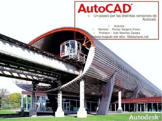  Un paseo por las distintas versiones de Autocad.  Autores:  Nombre : Porras Vergara Víctor,  Profesor : Iván Mechan Z...