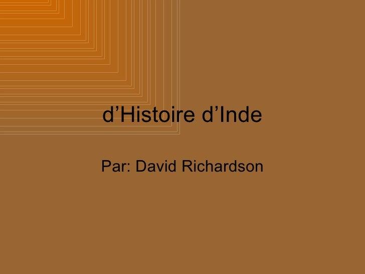 d'Histoire d'Inde Par: David Richardson
