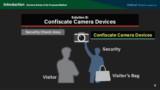 Security Check Area 11 Introduction Practical Stories of the Proposed Method Security Visitor Visitor's Bag Solution B: Co...