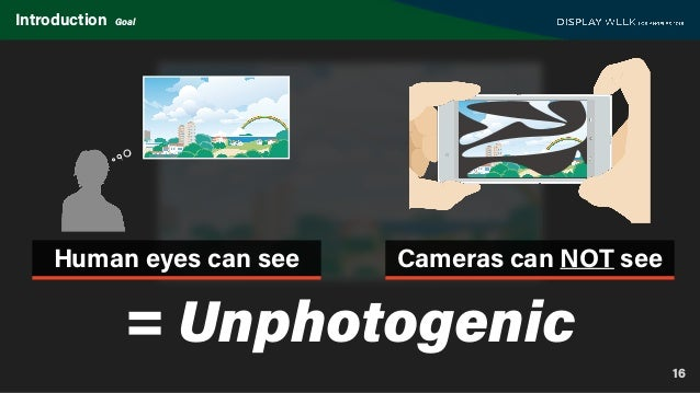 16 Introduction Goal Human eyes can see Cameras can NOT see = Unphotogenic