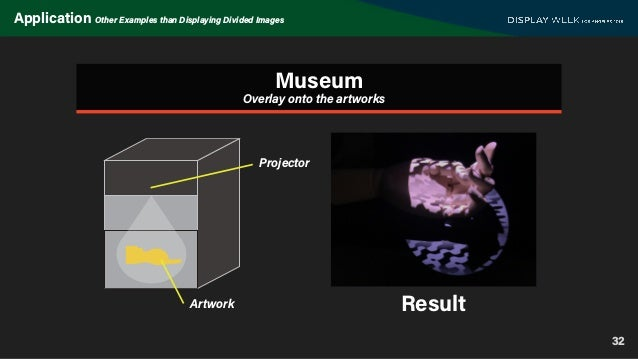32 Application Other Examples than Displaying Divided Images Museum Result Overlay onto the artworks Projector Artwork