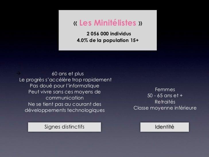 «Les Minitélistes»                             2 056 000 individus                         4.0% de la population 15+   ...