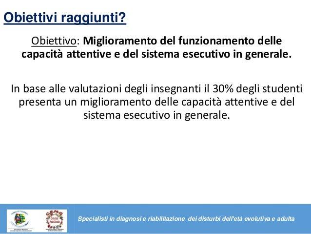 Obiettivi raggiunti? Obiettivo: Miglioramento del funzionamento delle capacità attentive e del sistema esecutivo in genera...