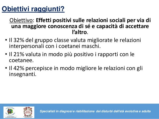 Obiettivi raggiunti? Obiettivo: Effetti positivi sulle relazioni sociali per via di una maggiore conoscenza di sé e capaci...