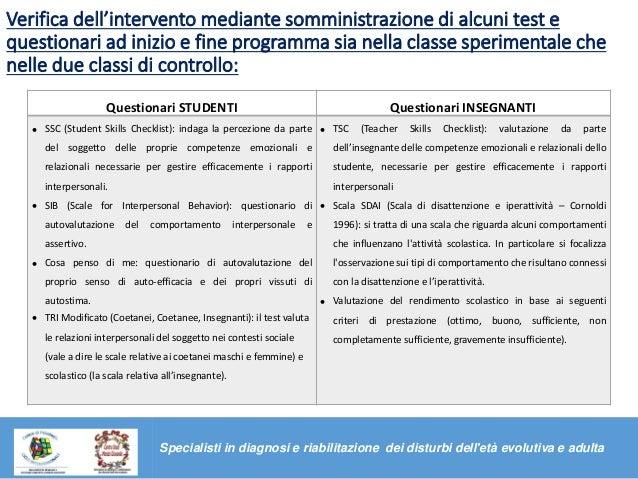 Verifica dell'intervento mediante somministrazione di alcuni test e questionari ad inizio e fine programma sia nella class...
