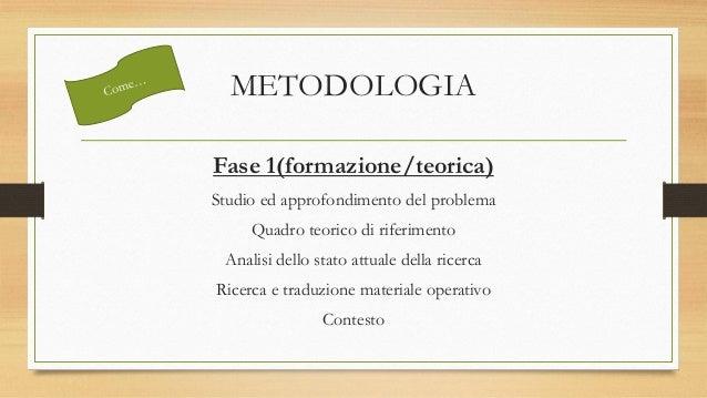 METODOLOGIA Fase 1(formazione/teorica) Studio ed approfondimento del problema Quadro teorico di riferimento Analisi dello ...