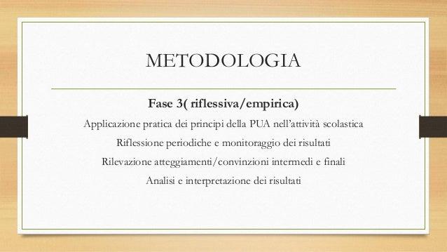 METODOLOGIA Fase 3( riflessiva/empirica) Applicazione pratica dei principi della PUA nell'attività scolastica Riflessione ...