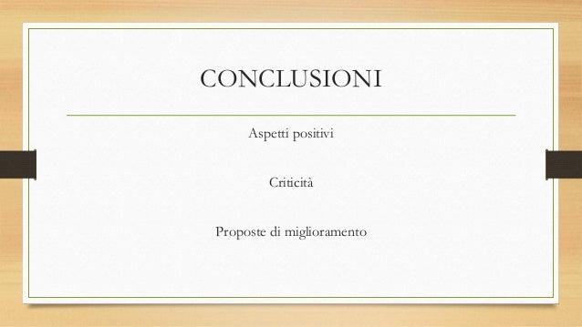 CONCLUSIONI Aspetti positivi Criticità Proposte di miglioramento