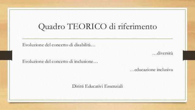 Quadro TEORICO di riferimento Evoluzione del concetto di disabilità… …diversità Evoluzione del concetto di inclusione… …ed...