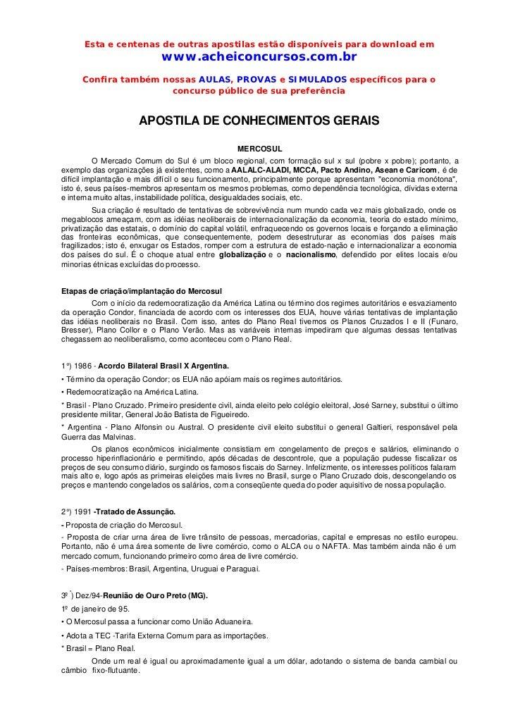 Esta e centenas de outras apostilas estão disponíveis para download em                              www.acheiconcursos.com...