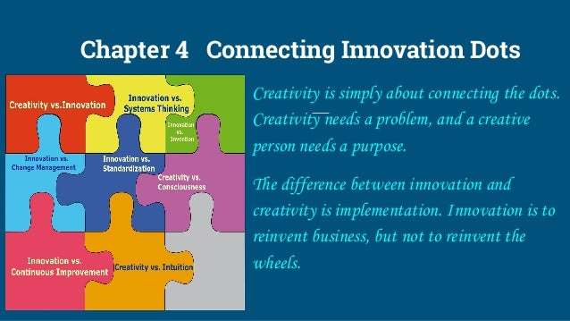 Chapter 4 Connecting Innovation Dots Creativity is simply about connecting the dots. Creativity needs a problem, and a cre...