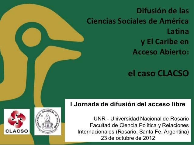 Difusión de las     Ciencias Sociales de América                             Latina                     y El Caribe en    ...