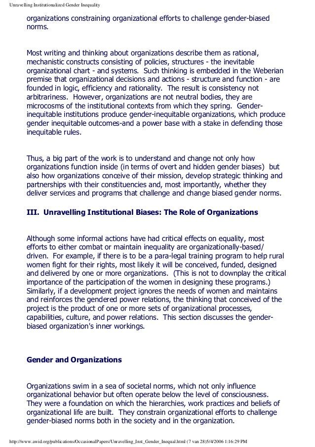 gender bias in organizations Gender bias in organizations introduction in this paper i review the literature on impression management to determine if there are substantial gender differences in the employment of impression management tactics in organizational contexts.