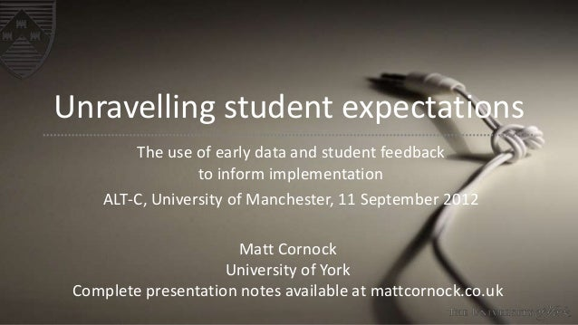 Unravelling student expectations The use of early data and student feedback to inform implementation ALT-C, University of ...