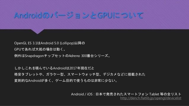 AndroidのバージョンとGPUについて OpenGL ES 3.1はAndroid 5.0 (Lollipop)以降の GPUであれば大抵の場合は動く。 例外はSnapdragonチップセットのAdreno 300番台シリーズ。 しかしこれ...