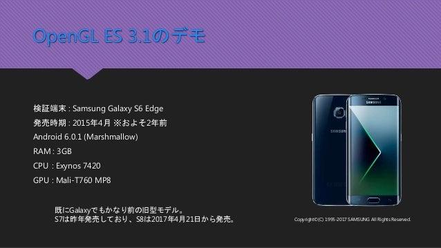 OpenGL ES 3.1のデモ 検証端末 : Samsung Galaxy S6 Edge 発売時期 : 2015年4月 ※およそ2年前 Android 6.0.1 (Marshmallow) RAM : 3GB CPU : Exynos 7...