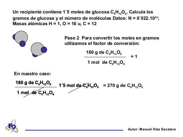 Ejercicios de moles con glucosa