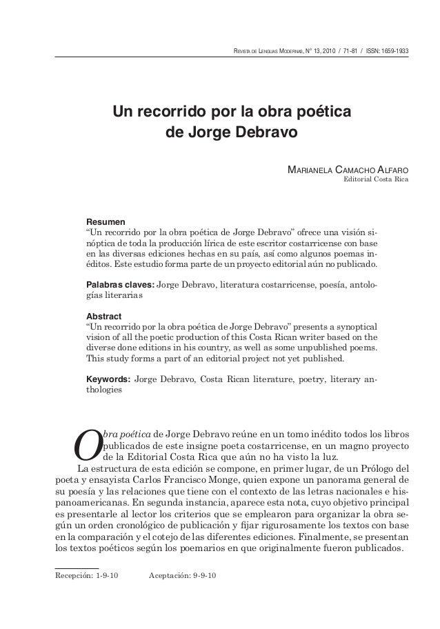 Revista de Lenguas Modernas, N° 13, 2010 / 71-81 / ISSN: 1659-1933  Un recorrido por la obra poética de Jorge Debravo Mari...