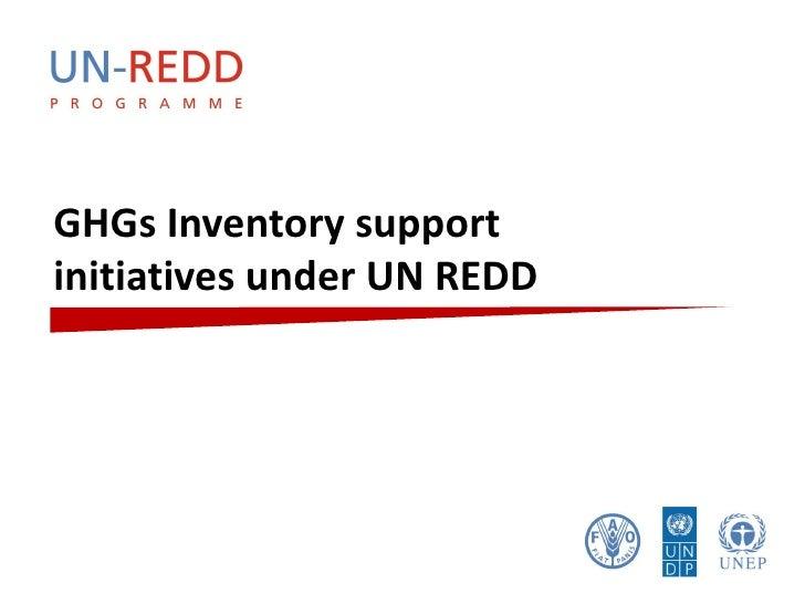 GHGs Inventory support initiatives under UN REDD