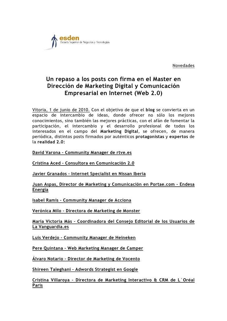 Novedades         Un repaso a los posts con firma en el Master en       Dirección de Marketing Digital y Comunicación     ...