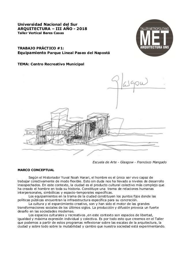 Universidad Nacional del Sur ARQUITECTURA – III AÑO - 2018 Taller Vertical Bares Casas TRABAJO PRÁCTICO #1: Equipamiento P...