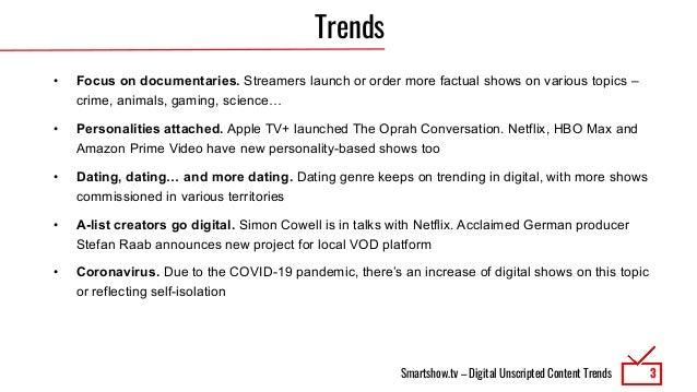 Digital Unscripted Content Trends 8/2020 Slide 3