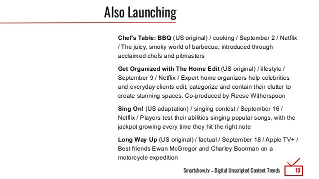 Smartshow.tv – Digital Unscripted Content Trends Also Launching Chef's Table: BBQ (US original) / cooking / September 2 / ...