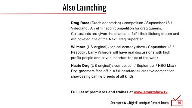 Smartshow.tv – Digital Unscripted Content Trends Also Launching Drag Race (Dutch adaptation) / competition / September 18 ...