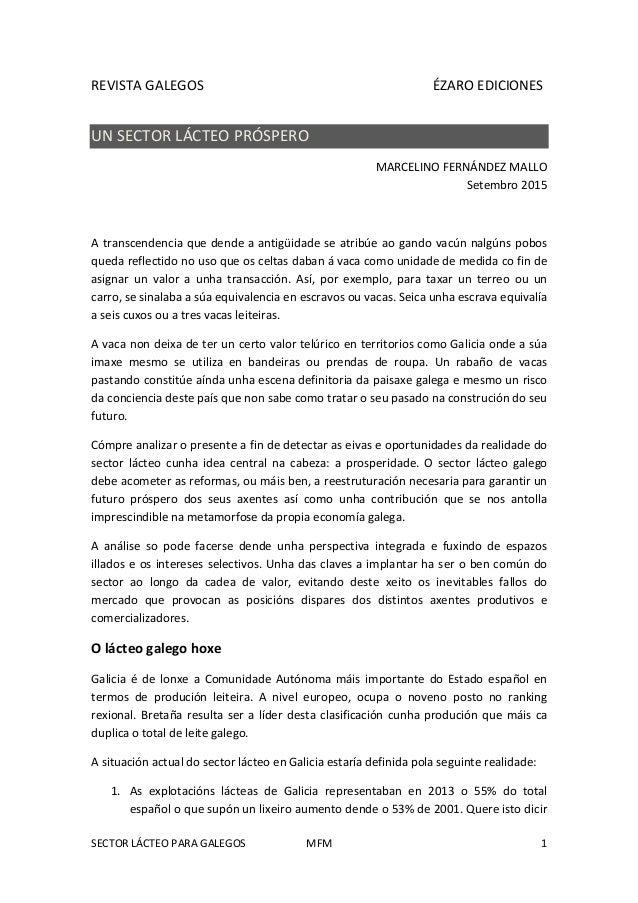 SECTOR LÁCTEO PARA GALEGOS MFM 1 REVISTA GALEGOS ÉZARO EDICIONES UN SECTOR LÁCTEO PRÓSPERO MARCELINO FERNÁNDEZ MALLO Setem...