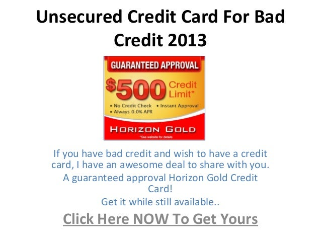 guaranteed approval unsecured credit cards