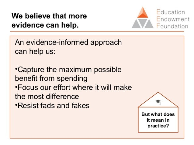 Applying evidence in practice External evidence summarised in the Toolkit can be used to inform choices. Step 2: Identifyi...