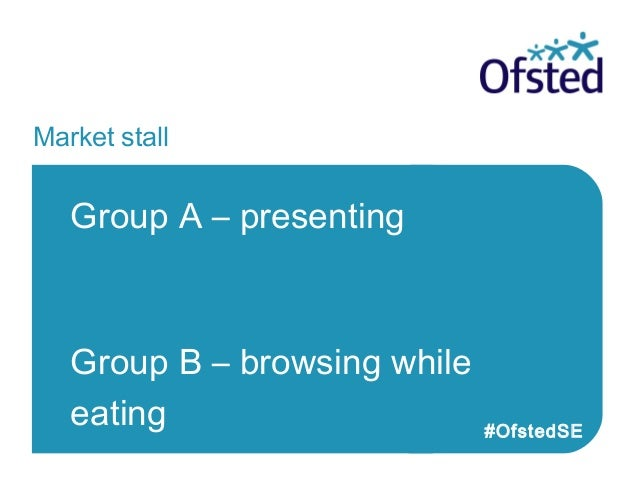 Market stall Group B – presenting Group A – browsing while eating #OfstedSE