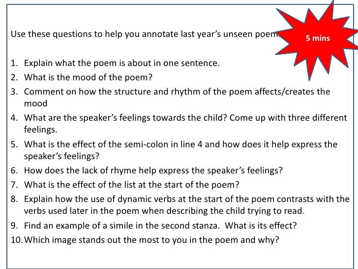 Unseen poem exam practice