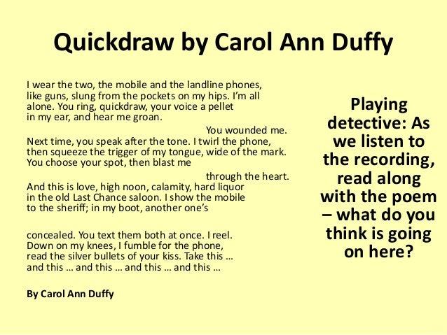quickdraw carol ann duffy