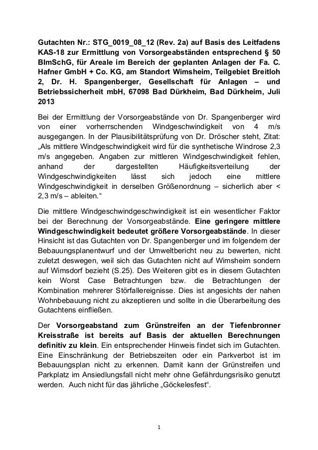 Gutachten Nr.: STG_0019_08_12 (Rev. 2a) auf Basis des Leitfadens KAS-18 zur Ermittlung von Vorsorgeabständen entsprechend ...