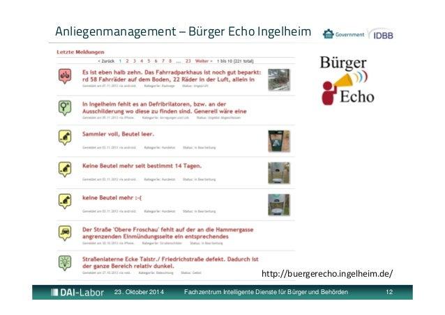 Anliegenmanagement – Bürger Echo Ingelheim  http://buergerecho.ingelheim.de/  23. Oktober 2014 Fachzentrum Intelligente Di...