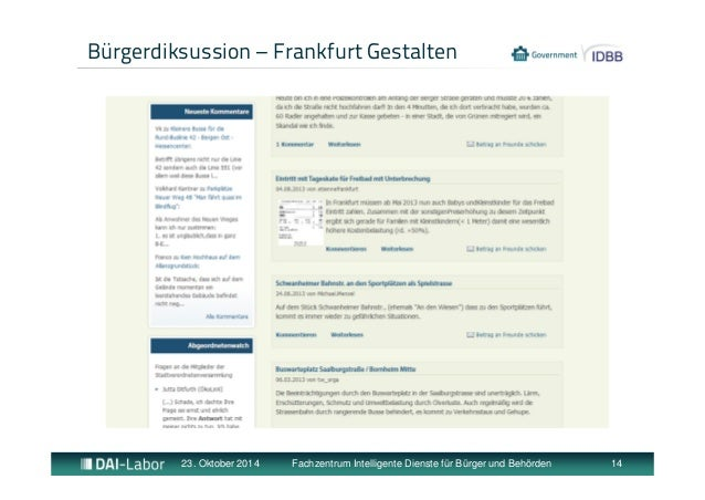 Bürgerdiksussion – Frankfurt Gestalten  23. Oktober 2014 Fachzentrum Intelligente Dienste für Bürger und Behörden 14