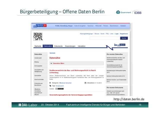 Bürgerbeteiligung – Offene Daten Berlin  http://daten.berlin.de  23. Oktober 2014 Fachzentrum Intelligente Dienste für Bür...