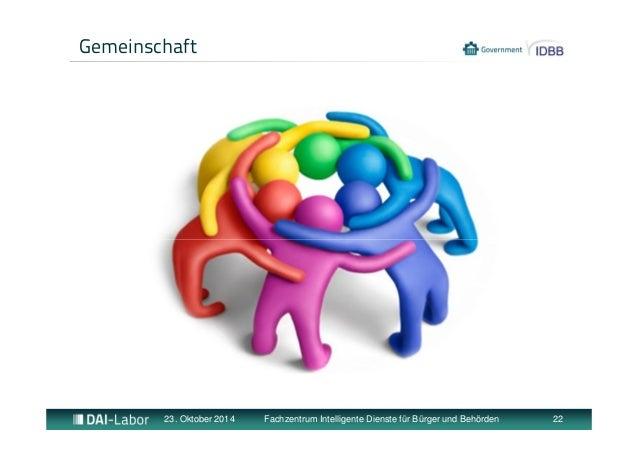 Gemeinschaft  23. Oktober 2014 Fachzentrum Intelligente Dienste für Bürger und Behörden 22