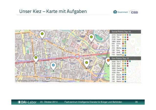 Unser Kiez – Karte mit Aufgaben  23. Oktober 2014 Fachzentrum Intelligente Dienste für Bürger und Behörden 35