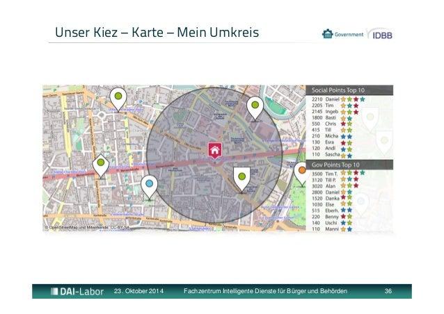 Unser Kiez – Karte – Mein Umkreis  23. Oktober 2014 Fachzentrum Intelligente Dienste für Bürger und Behörden 36