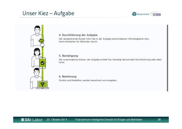 Unser Kiez – Aufgabe  23. Oktober 2014 Fachzentrum Intelligente Dienste für Bürger und Behörden 38